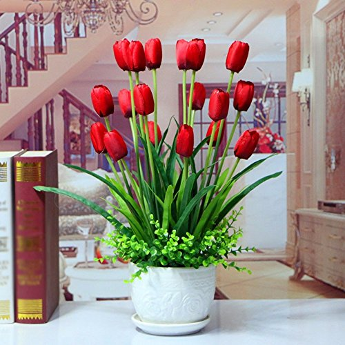 USDFJN Faux Decoration Vase Artificiel Tulip Rouge