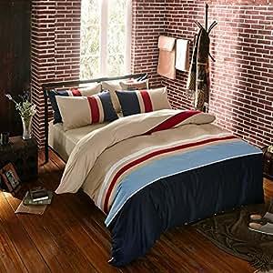 qzzielife 3 teilige bettwaesche set 200 x 220 cm baumwolle gestreift mit reissverschluss beige. Black Bedroom Furniture Sets. Home Design Ideas