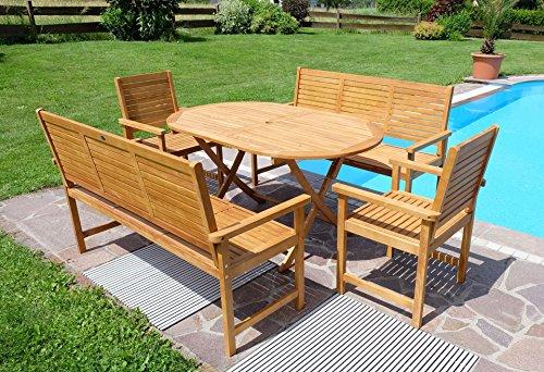 Edle Gartengarnitur Gartenset Gartenmöbel Garnitur Sitzgruppe SARIA-BARBADOS-EU-XL mit 2 Sessel, 2 Bänke und einem Tisch Holz Eukalyptus wie Teak von AS-S