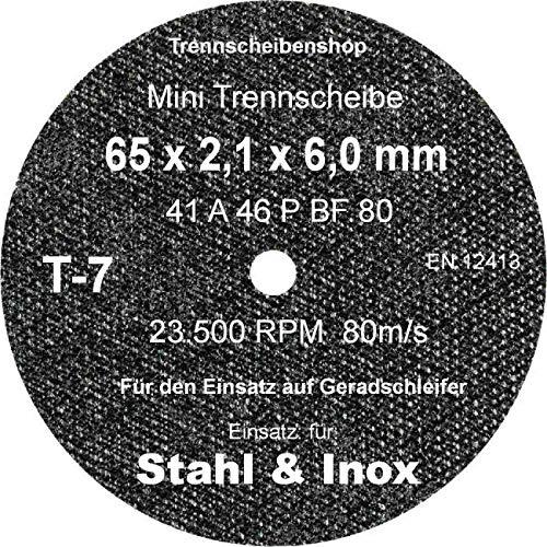TTT-7_20 Stück. Trennscheibe, Ø 65 x 2,1 x 6,0 mm, Inox Edelstahl Eisen und sulfatfrei, Profi Scheibe, Super Premium.