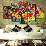 LA VIE 5 Teilig Wandbild Gemälde Bunte Abstrakte Baum Moderne Kunstdruck Hochwertiger Leinwanddrucke als Ölbild für Zuhause Wohnzimmer Schlafzimmer Küche Hotel Büro Geschenk