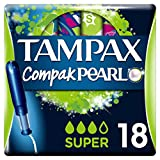 Tampax Pearl Compact Super Applicator, Tampon for Comfort Protection and Discretion, 18-Count