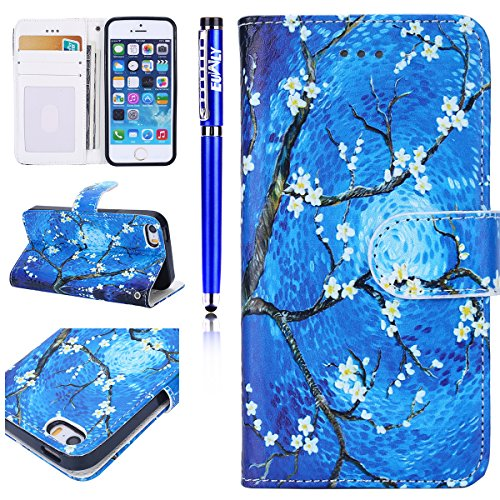 Custodia iPhone 7/iPhone 8 (4.7), EUWLY Flip Cover Leather Wallet Case Custodia per iPhone 7/iPhone 8 (4.7) in PU Pelle, Bling Bling Custodia Cover con Ultra Sottile Interno Silicone TPU Case Protet Fiore Bianco Prugna