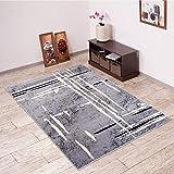 Alfombra De Salón Moderna – Color Gris Negro De Diseño Geométrico – Suave – Fácil De Limpiar – Top Precio – Diferentes Dimensiones S-XXXL 200 x 300 cm