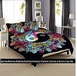 Kiara 3PCS Mandala Betten Haltung Millionen Romantische Weiche Bettwäsche Uni Quilt Überwurf Boho Twill Bohemian Bettbezug Set Queen/Twin Größe, Baumwolle, Multi Yin Yang Mandala, Queen