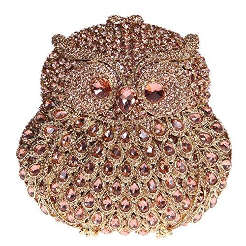 Santimon Clutch Delle Donne 3D Guto Diamante Cristallo Borsellini Borse Da Festa di Nozze Sera Con Tracolla Amovibile E Pacco Regalo 13 Colori rosa oro