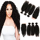 DAIMER Brazilian Kinky Curly Human Hair 3 Bundles With Full Front Lace Closure Frontal Silk Base Free Part Welliges Haarverlängerung Extensions Echthaar Tressen Prime 16 18 20 +14 Inches