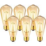 LVWIT Ampoule à filament LED E27 ST64 7.5W, 865Lm Equivalent à Ampoule Incandescente 60W, Lampe Rétro Edison en Verre Brun, 2
