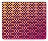 Geometric Mouse Pad, Abstract Ombre Illustration Symmetrical Designed Modern Work of Art Print, Standard Size Rectangle Non-Slip Rubber Mousepad, Orange and Pink