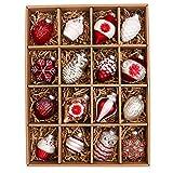 Valery Madelyn 16tlg.5.5-8cm Klassische Rot Weiß Glas Weihnachtskugeln Weihnachtsbaumschmuck Weihnachten Deko Anhänger, inkl.Metallhaken