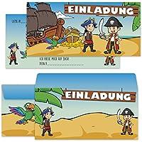 Piraten Einladungskarten Mit Umschlägen Im 12er Set, Ideal Für  Kindergeburtstag, Party, Feier,