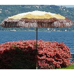 PEGANE Parasol Rond centré Coloris Paille, Whisky et Marron- Dim : H 215 x D 200/8 cm