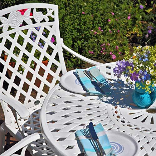 Lazy Susan - MIA 90 cm Runder Gartentisch mit 2 Stühlen - Gartenmöbel Set aus Metall, Weiß (Kate Stühle, Grüne Kissen)