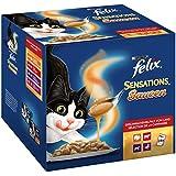 Felix Katzennassfutter Sensations Saucen Geschmacksvielfalt vom Land, 4er Pack (4 x 24 x 100g) Portionsbeutel