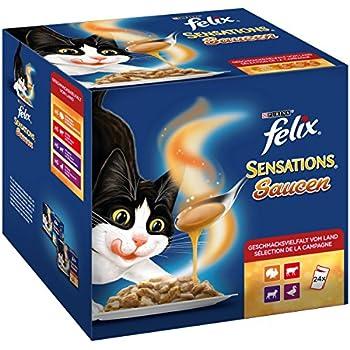 Felix Sensations - Lot de 4 boîtes de 24 sachets de 100 g de Nourriture pour Chat enrichie en vitamines & Omega 6, pour Chats Adultes