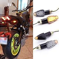 2 St/ück Bernsteinfarben evomosa Blinkerlichter f/ür Motorrad 14 LED-Mini-Pfeillicht 12 V