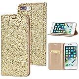 Misteem Coque pour iPhone 7/8 Paillette Cristal Strass, Coloré Motif Fermeture Magnétique Cuir Flip Case Antichoc Etui Portefeuille pour iPhone 8 / 7s (Or)