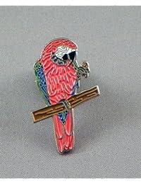 Métal Émail Badge à épingle broche perroquet ara (Rouge et Bleu)