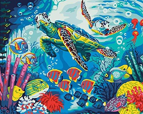 DIY Malen nach Zahlen für Erwachsene Junior Kinder, ABEUTY Unterwasser Welt 40x50cm Weihnachten Valentinstag Geschenk