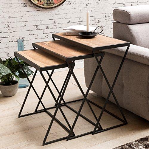 FineBuy Ensemble de 3 tables d'appoint design AKOLA | acacia tables gigognes | jambes métalliques bois massif | Table basse 3 pièces mélange de matériaux