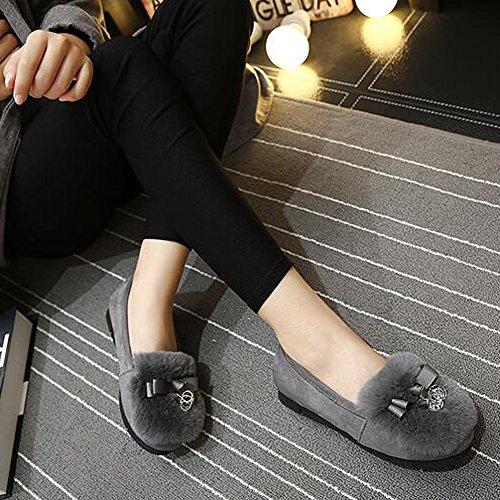Femme Chaussures En Peluche De Mode Gris foncé