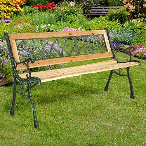 Gartenbank Holzbank Bank aus Gusseisen Holz inkl. Schutzhülle Tulpendesign - 2