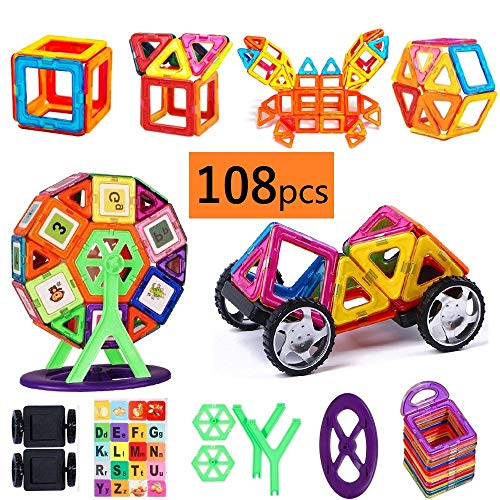 Faburo 108 Stück Magnetische Bausteine Set Magnetisch Bauklötze Regenbogen Konstruktionsbausteine Pädagogische Spielzeug und Kreatives Geschenk für Kinder