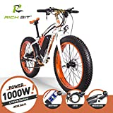 Rich Bit® RT-012 1000 W E-Bike eBike Cruiser Fahrrad Radfahren 48V*17Ah hohe Kapazität Akku 21speed 7 Gänge Federgabel Doppel Mechanische Bremse, 4.0 Fat Tire Snow Bike Shimano Umwerfer Lange dauert, New Fashion Malerei, damen Herren, Orange