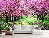 Wh-Porp 3D Wallpaper Benutzerdefinierte Mural Foto Sakura Woods Gärten Dekoration Bild Zimmer Malerei 3D Wandbilder Tapeten Für Wände 3D-400Cmx280Cm
