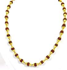 Fabzeel Rudraksha Mala one Gram Gold Plated Long 24 inch Chain for Men