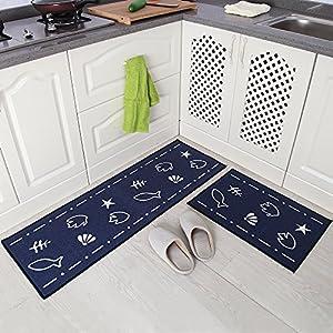 Carvapet 2Stk Küchenläufer Waschbar rutschfest Küchenmatte Küchenteppich Waschbar Teppich Läufer Küche Fußmatte Badematten Set