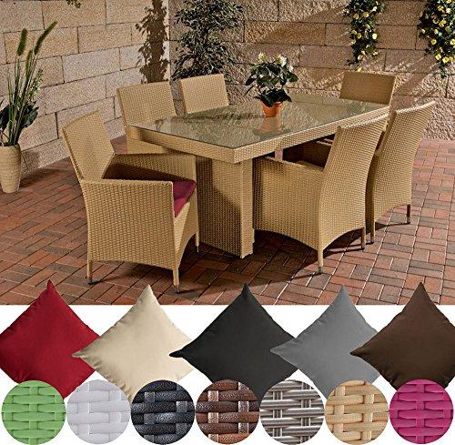 CLP Polyrattan Sitzgruppe AVIGNON (Tisch 180 x 90 cm + 6 x Polyrattan Stuhl Julia + Sitzauflagen), bis zu 7 Rattan-Farben + 5 Bezugsfarben wählbar Rattanfarbe: Sand, Bezugfarbe: Rubinrot