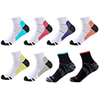 Meowoo 8 Paires Chaussettes de Compression pour Homme et Femme Chaussettes Sport Courte pour Sportive, Cyclisme, Fitness…