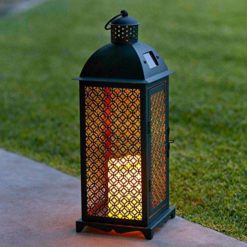 2b8b95bc14d95f Lights4fun Lot de 2 x Grandes Lanternes Solaires Marocaines en Métal avec  Bougie LED pour Jardin