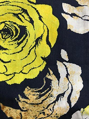 Peach Couture Vintage Inspiré Motif A-Line Robe Droite avec Ceinture en Tissu Black & Yellow