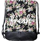 cosey - Zaino a sacca stampato alla moda - Design Fresh Flowers con fondo rinforzato in pelle