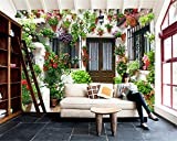 Qinmon 3D Wandbild Tapete Dekoration Wandtattoo Kundenspezifischer Privater Garten-Haus Fernsehhintergrund Wand-Aufkleber Wohnzimmer Schlafzimmer 150Cmx100Cm