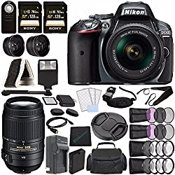 Nikon D5300 DSLR Camera with 18-55mm Lens (Grey) + Nikon AF-S DX NIKKOR 55-300mm f/4.5-5.6G ED VR Lens + Battery + Charger + Sony 128GB UHS-I SDXC Memory Card (Class 10) + Remote + Flash Bundle