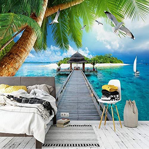 Benutzerdefinierte Fototapeten 3D Küstenlandschaft Palm Island Holzbrücke Wandbild Wohnzimmer Schlafzimmer Hintergrund Wand Papel De Parede-250 * 200cm