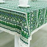 DKEyinx Rechteck Retro Ethnic Cotton Linen Hollow Lacework Tischdecke Kitchen Decor, Baumwollleinen + Spitze Green 140 * 160cm