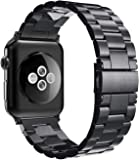 Simpeak Stainless Steel Band Strap Compatible with Apple Watch 42mm Series 1 Series 2 Series 3 Series 4 Series 5 (44mm), Black
