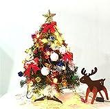 WLITTLE Mini Künstlicher Tannenbaum Weihnachtsbaum 30cm mit LED Lichterkette Beleuchtung und Baumschmuck Weihnachtskugeln Baum geschmückt mit Zapfen Kugeln Schleifen