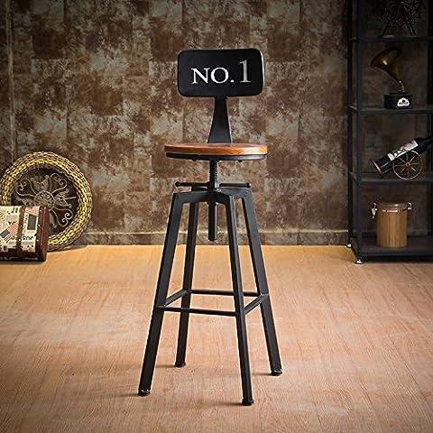 Lzl la barre de fer Chaise Tabouret industriel Vent rotatif Ménage Lift Tabouret de bar Tabouret de bar Chaise en bois haute