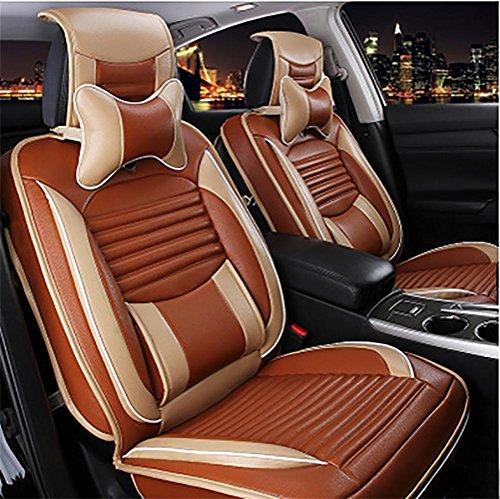DIELIAN Luxus PU Leder Sitzbezüge 5 Sitze Full Set Universal Fit Leicht zu reinigen Anti-Rutsch Vier Jahreszeiten Sitzkissen , brown