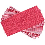 The Craft Cotton 18 x 22-Inch 6-Piece Fat Quarter Red and White Printed Fabric Bundle