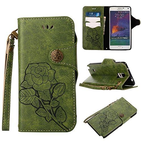 Preisvergleich Produktbild Samsung Galaxy Note 4 Hülle, Alfort Grün Schutzhülle mit Wallet Case
