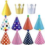 Dokpav Gorros de Fiesta, 11pcs Gorros Fiesta Sombrero Forma Cónica con Poms, favores de la fiesta de cumpleaños, sombrero del