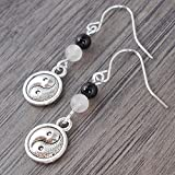 Yin Yang Earrings with pale pink Rose Quartz & black Onyx, includes Gift Box