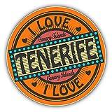 I Love Tenerife Canary Islands Travel Stamp Alta Calidad De Coche De Parachoques Etiqueta Engomada...
