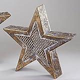 Formano Teelichthalter Stern 36 cm aus Metall Antik Gold mit Durchbruch für Teelicht Oder Lichterkette. Orientalische Deko (36 cm)